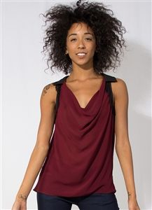 Maroon Open Back Tank #Chiffon #Maroon #Black #ScoopNeck #Party #Club #Lace #Sexy #Style #Fashion #Wholesale #Downtown  #LosAngeles #OpenBack #Dressy #NightLife