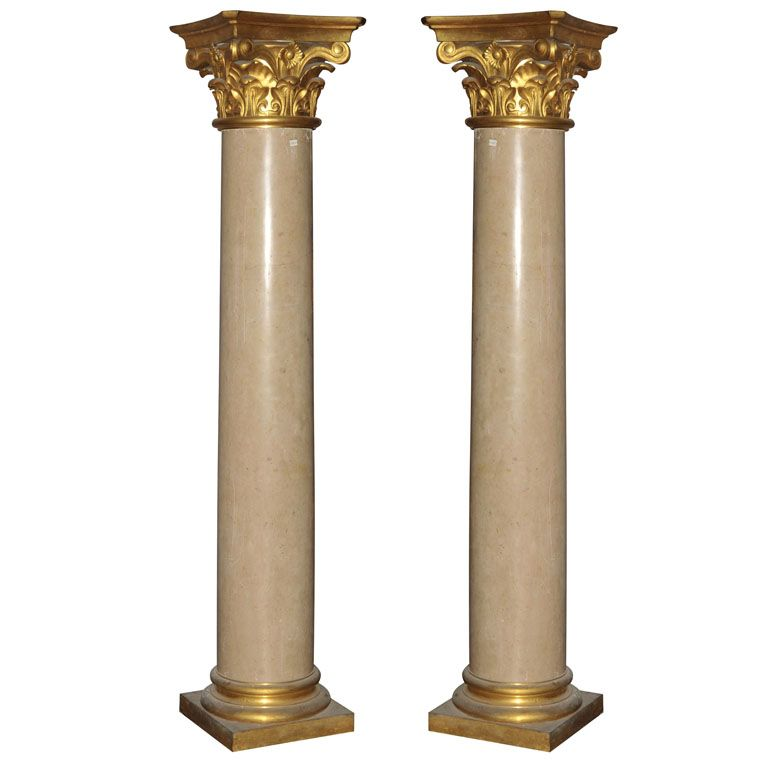 A Pair Of 19th Century French Chassagne Marble Columns Marble Columns Decorative Fireplace Screens Column Design