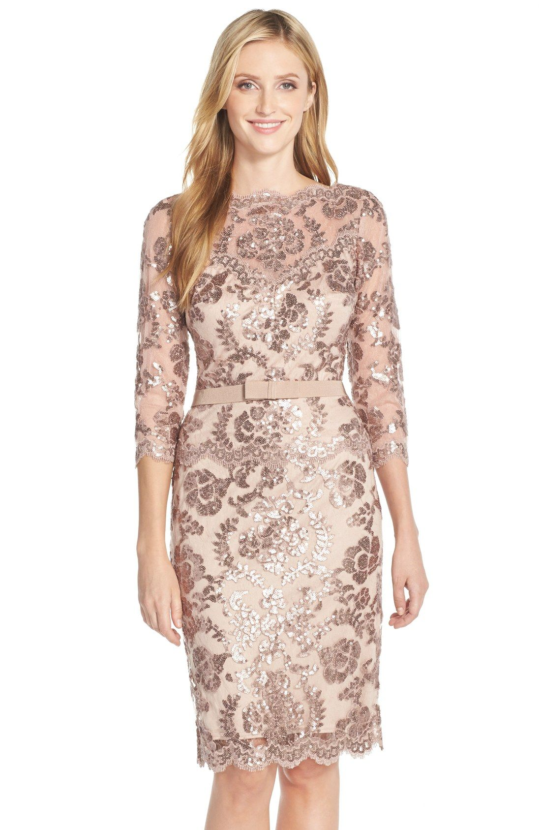 Tadashi Shoji Embroidered Lace Belted Dress (Regular & Petite ...