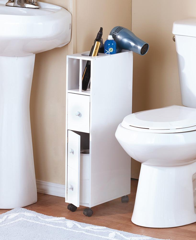 Photo of Slim Small Space Saving Bathroom & Beauty Supply Storage Rolling Holder & Organizer – White