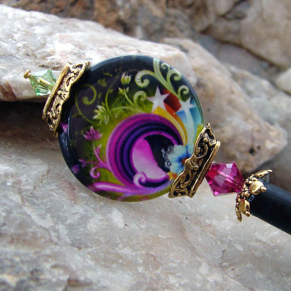 Bright Abstract Design Hair Stick - Purple Shell Coin with Fuchsia and Peridot Swarovski Crystals Hair accessory - Irisa. $24.00, via Etsy.