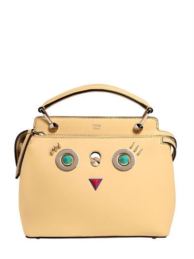 8b1af46d5cd2 FENDI - SMALL DOTCOM CLICK FACES LEATHER BAG - YELLOW
