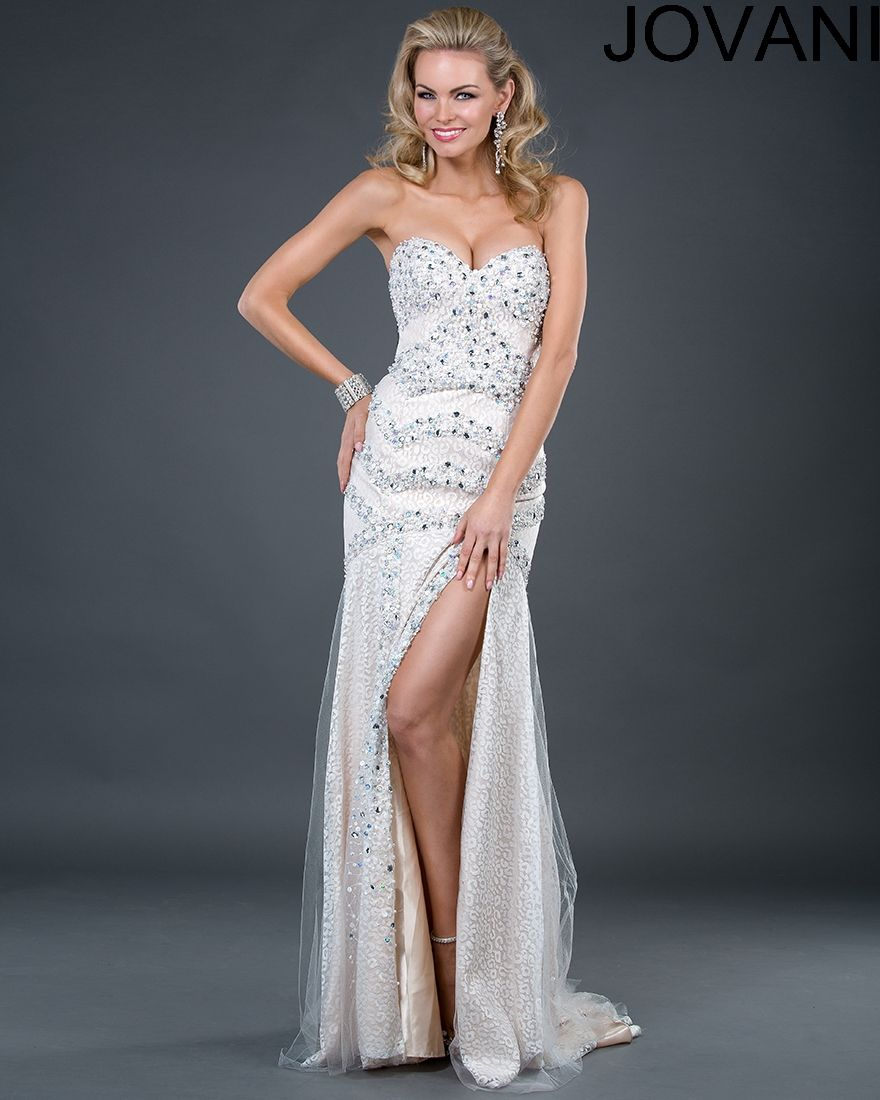 Jovani style 925 is a gorgeous thigh high split beaded strapless ...