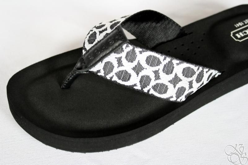 9ad442053 COACH Jessalyn Webbing Black Ivory Flip Flops Thongs Womens Shoes ...
