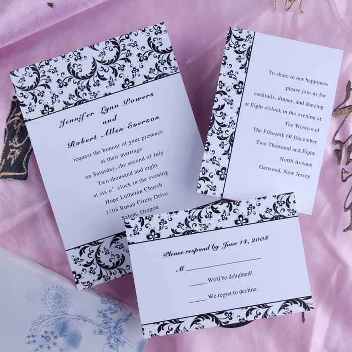 cheap classic black and white damask wedding invitations ewi157,