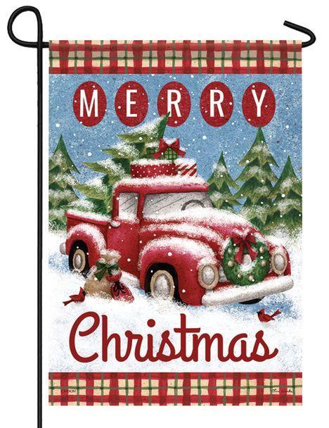 Red Pickup Merry Christmas Garden Flag