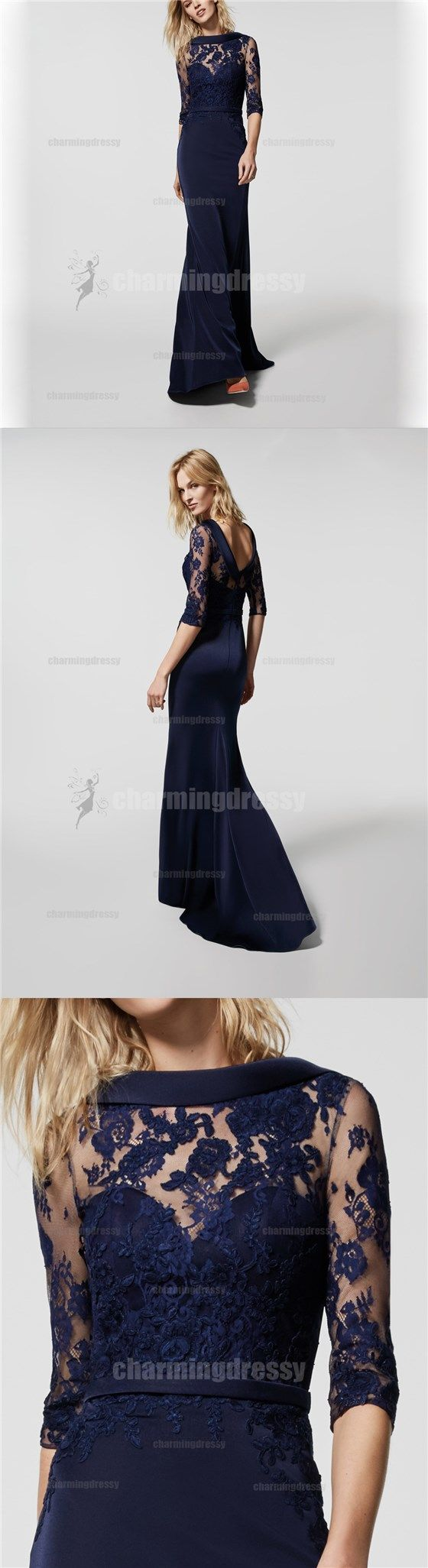 Navy blue long sleeves v back lace popular bridesmaid dresses