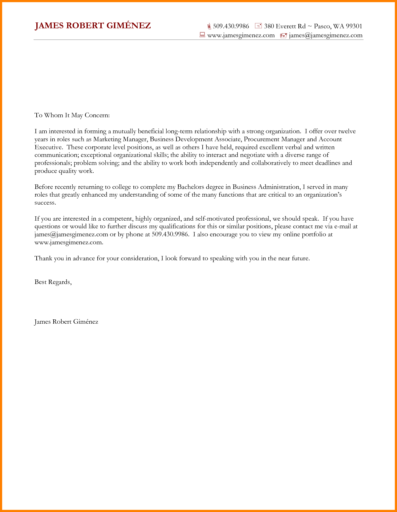 Write Business Cover Letter Address Company Account