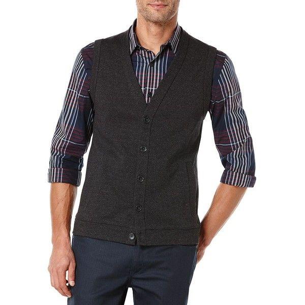 Perry Ellis Big and Tall Herringbone Sweater Vest ($28) ❤ liked ...