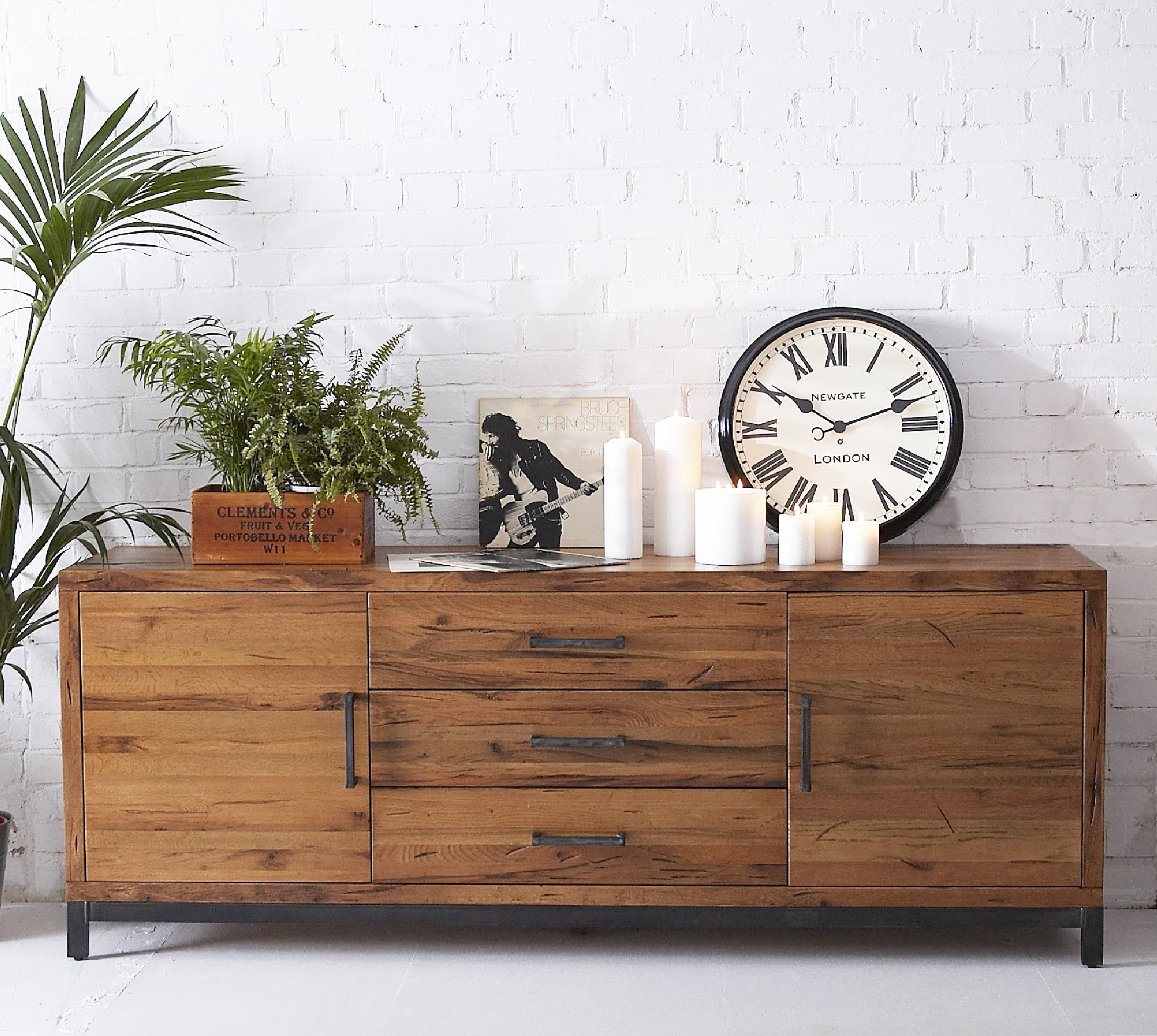 INDUSTRIAL RECLAIMED SOLID OAK Large Sideboard