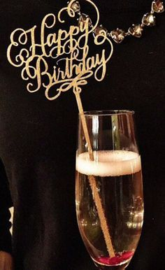Happy Birthday Champagne Decoration Gold Happy
