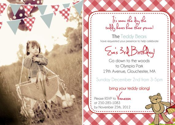 teddy bear picnic birthday invitation you print by justmeprints, Einladung