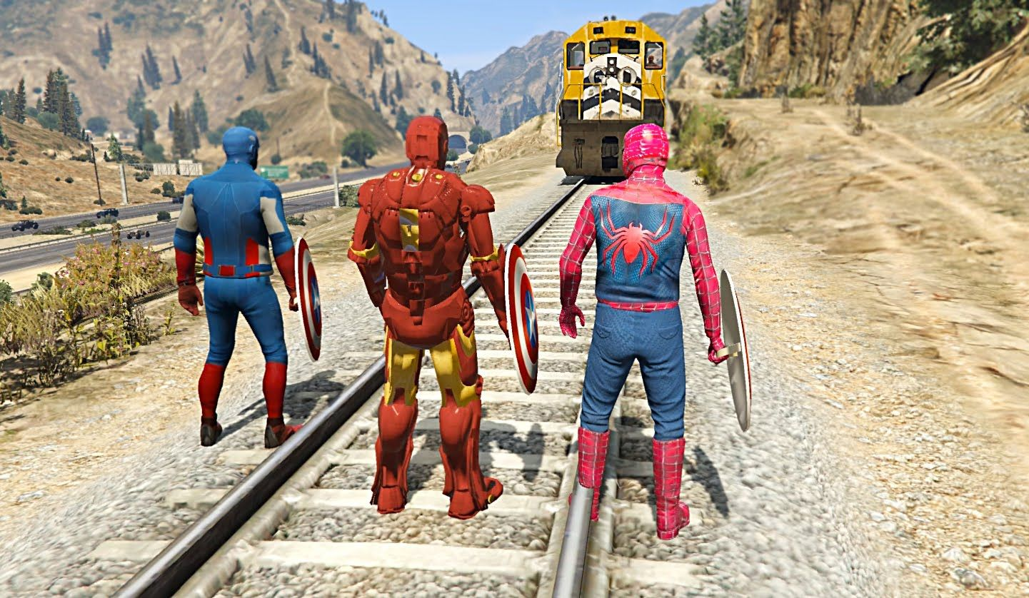 Captain America, Spiderman & Iron Man (Grand Theft Auto V