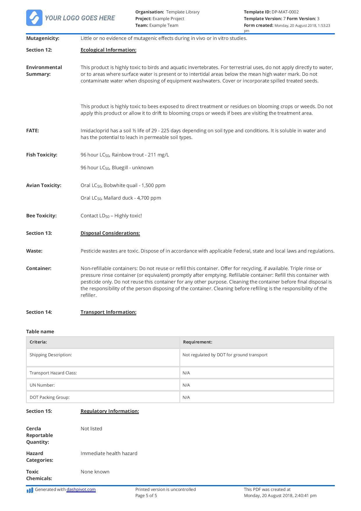 Free Material Safety Data Sheet Template (Better Than Word