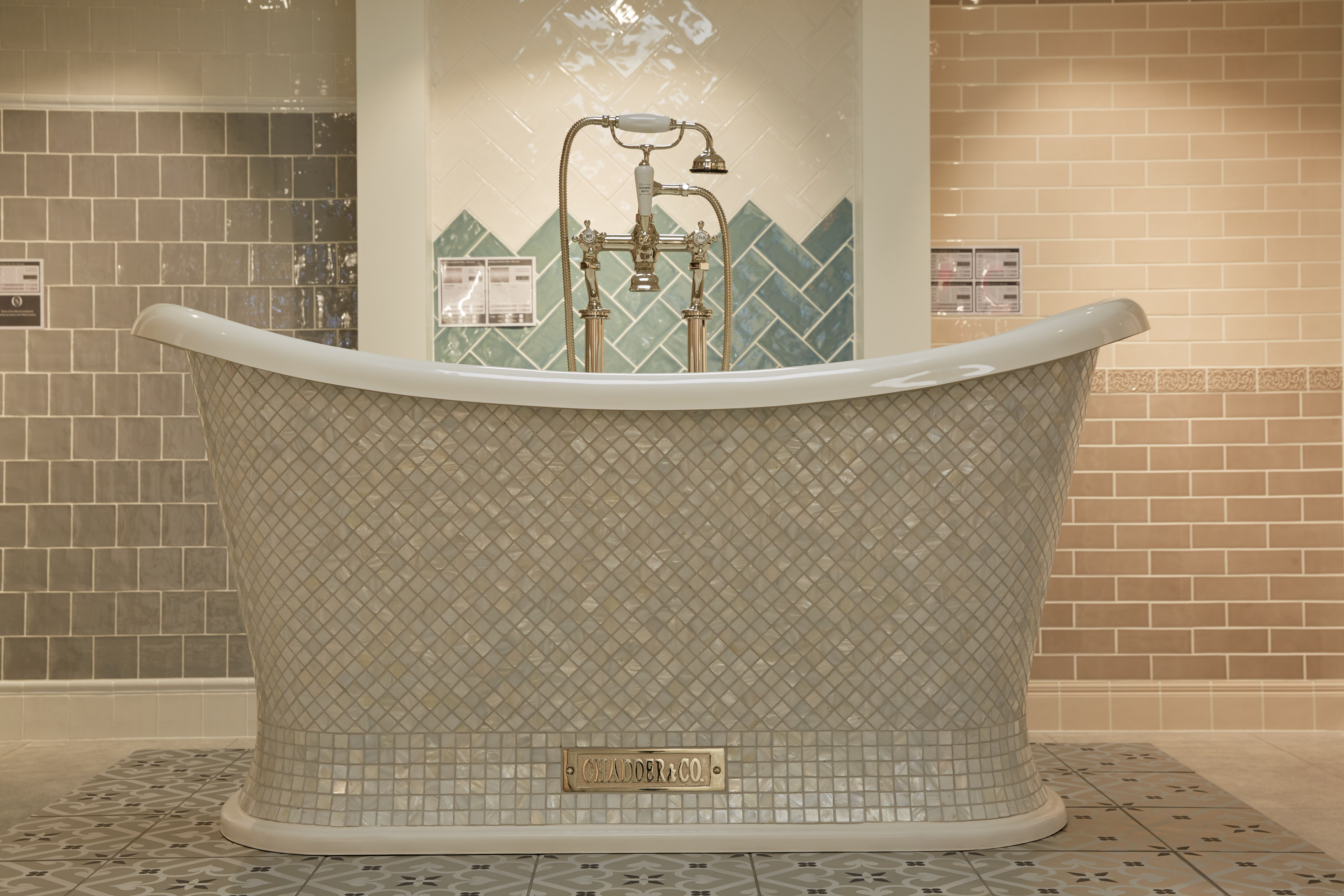 Brand new! Our Chadite Chariot Bathtub with Mother of Pearl Mosaic ...