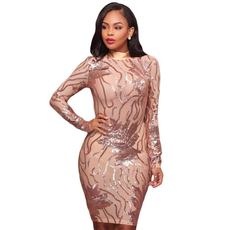 9939db0ea1f0 Caleb Rose Gold Nude Sequins Semi-Sheer Open Back Dress #Midi Dress #