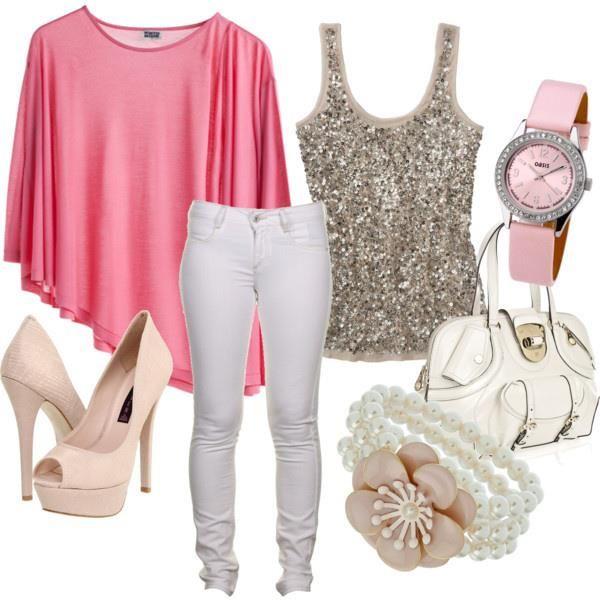 Combinacion Rosado Blanco Y Dorado Girly Outfits Style Fashion