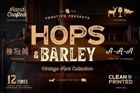 Download Hops And Barley font Collection | Vintage fonts, Fonts ...