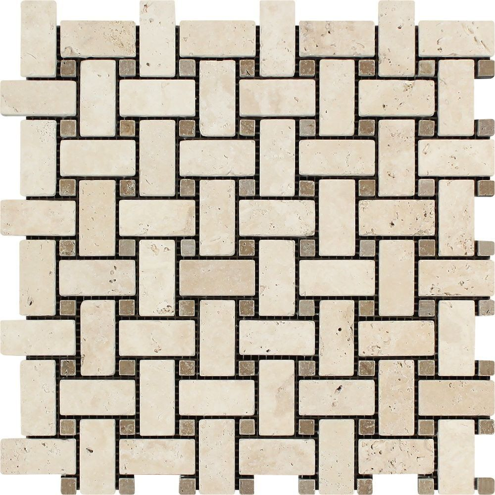ivory tumbled travertine basketweave mosaic tile w noce dots rh pinterest com
