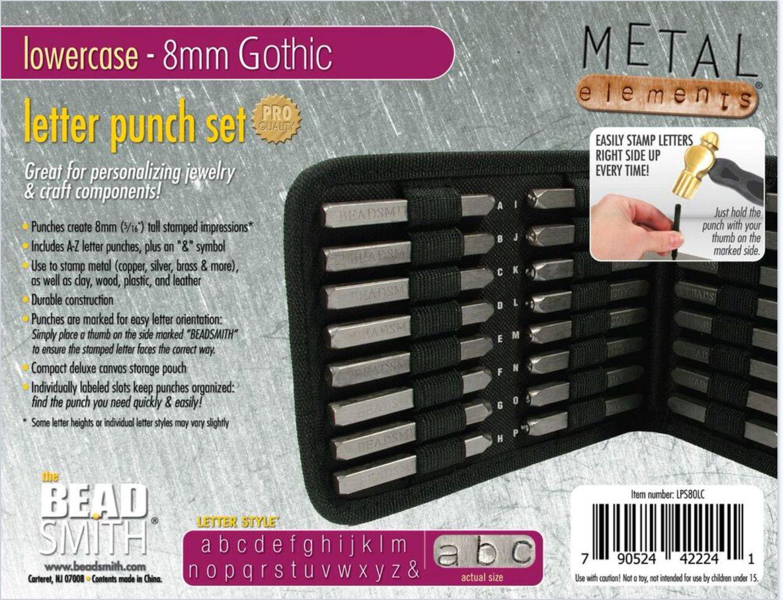metal stamp set metal stamping kit 8mm lower gothic font metal alphabet set jewelry