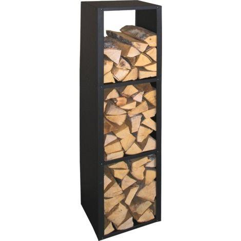 Etagère à bûches en métal noir - 29377002252 | Range buche interieur, Range buche, Porte buche
