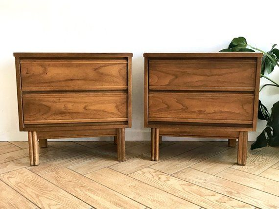 Best Mid Century Modern Matching Nightstands Set Of 2 Solid 640 x 480