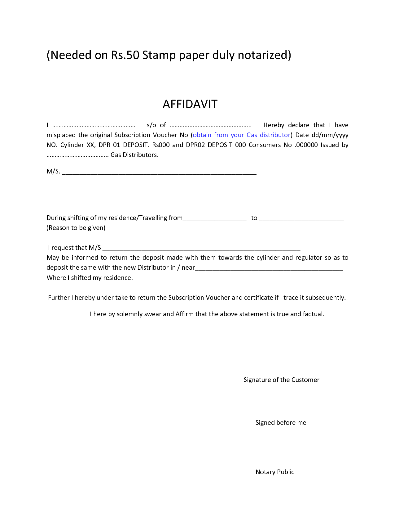 Download Affidavit Form For Free Page Includes Various Formats Of