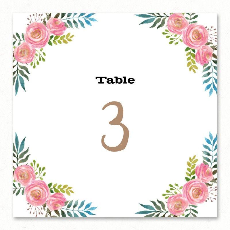 Numero De Table Numeros De Table Fleurs Et Noms De Tables
