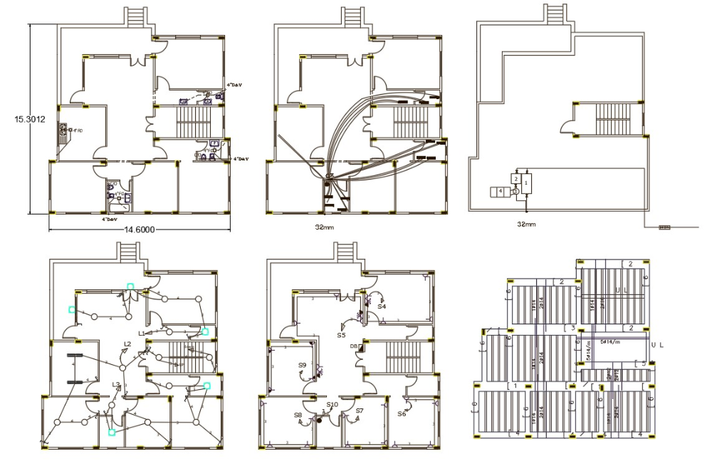 48' X 50' House Plumbing And Electrical Plan Drawing in
