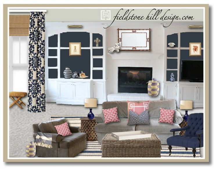 A bright and fresh family basement room, with nautical colors and splashes of salmon tones. Design by Fieldstone Hill Design {www.fieldstonehilldesign.com}