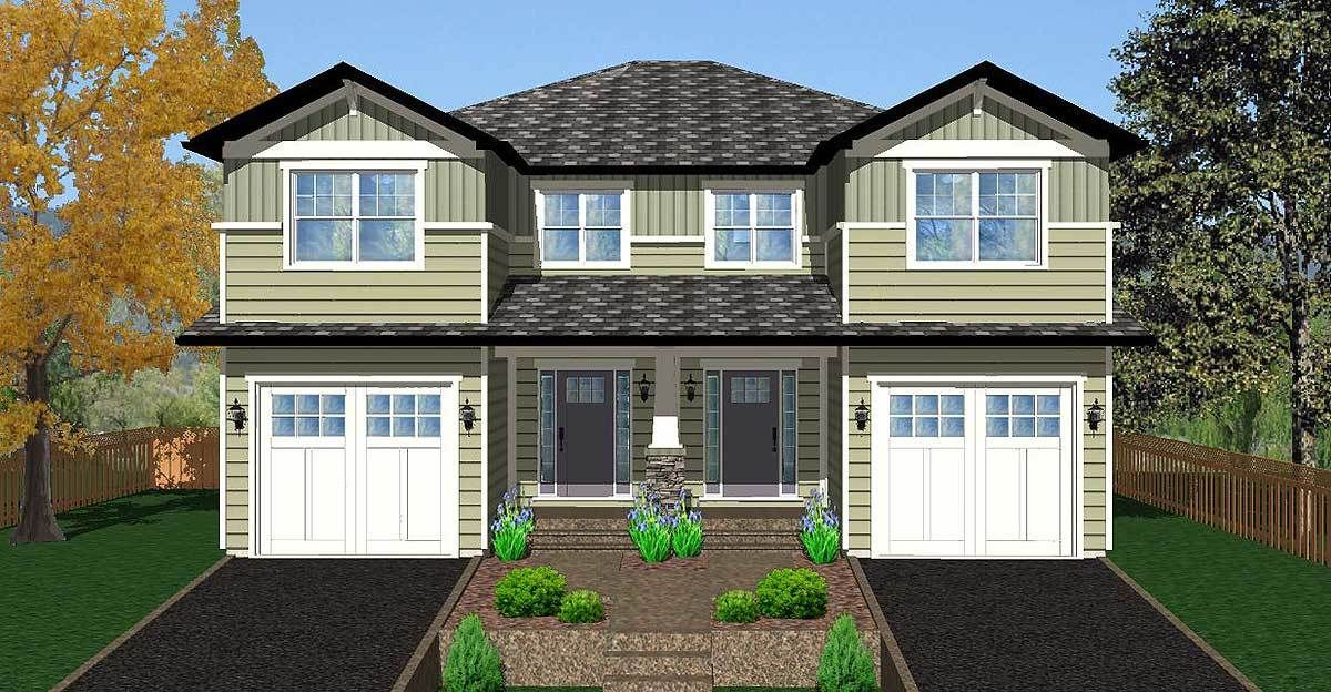Plan 67717mg Side By Side Craftsman Duplex House Plan Duplex House Plans Garage House Plans Craftsman Style House Plans