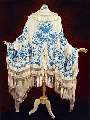Hand-embroidered silk crepe wrap with hand-knotted silk fringe, c.1905. Chinese made for the Western market, still has the original tag