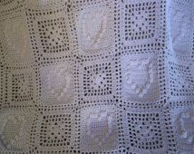 White Crocheted Hearts and Granny Squares Baby Blanket