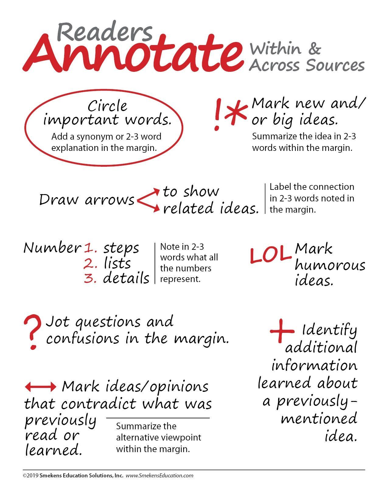 Annotation Worksheet High School Simplify Annotation With