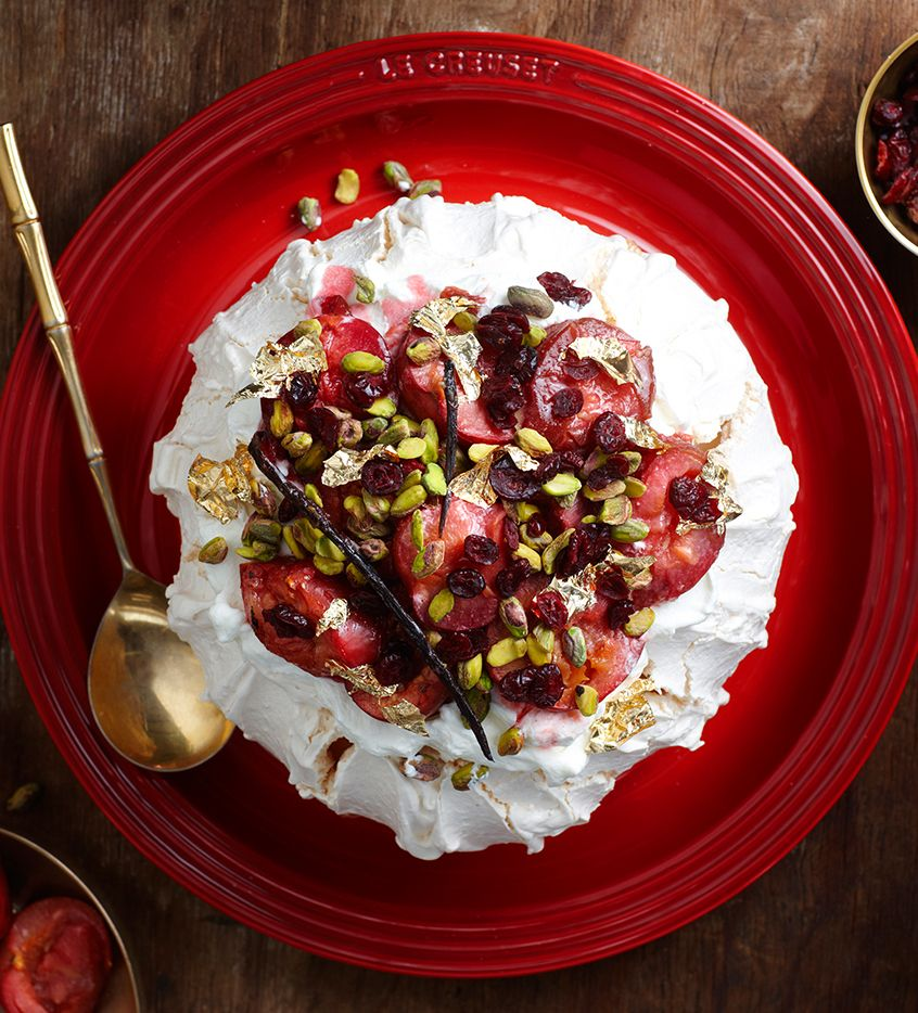 This festive twist on a classic pavlova is a feast for all the senses. Perfect as an alternative to the traditional Christmas pudding, it is also convenient as the meringue can be made the day before and stored in an airtight container. Spoon cream on top and decorate with plums, cranberries, pistachio nuts and edible …