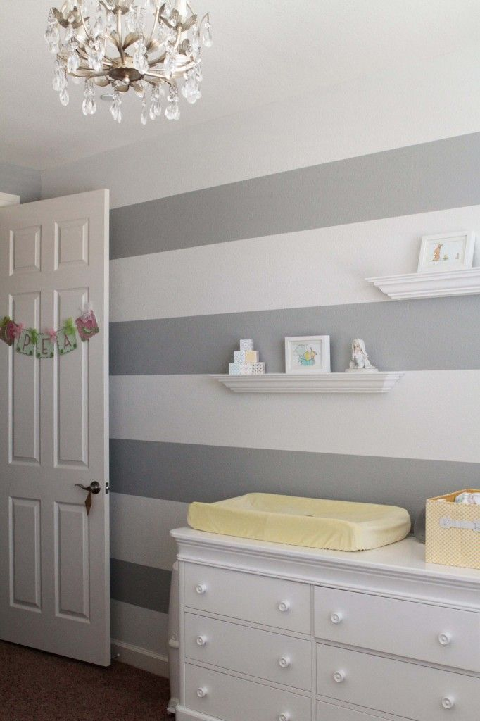 The Pea S Room Gender Neutral Neutral And Striped Walls Nursery