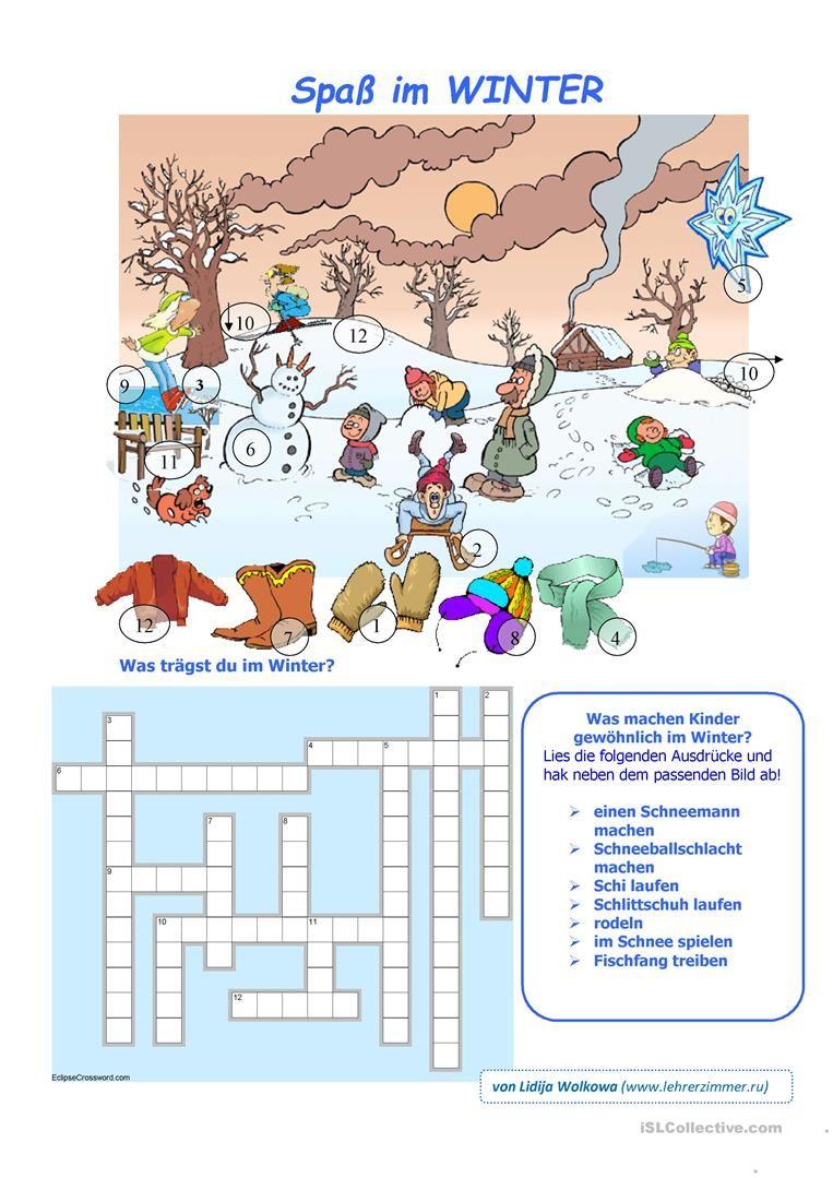 Spass im Winter | Winter, Deutsch und Schreiben Arbeitsblatt