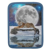 Amur Tiger & Snow Wildlife Fantasy Art iPad Sleeve