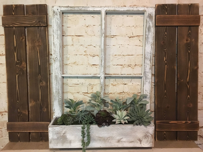 Old Window Frame, shutters, succulents, Vintage Window, Farmhouse ...