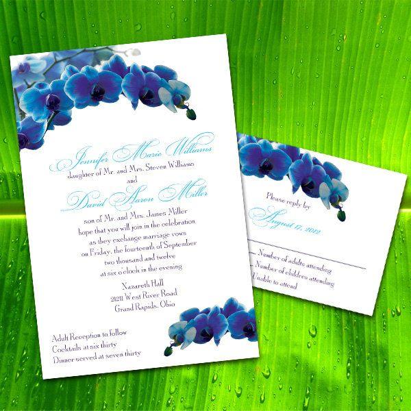 Custom Blue Orchid Wedding Invitations Custom Wedding Invitations
