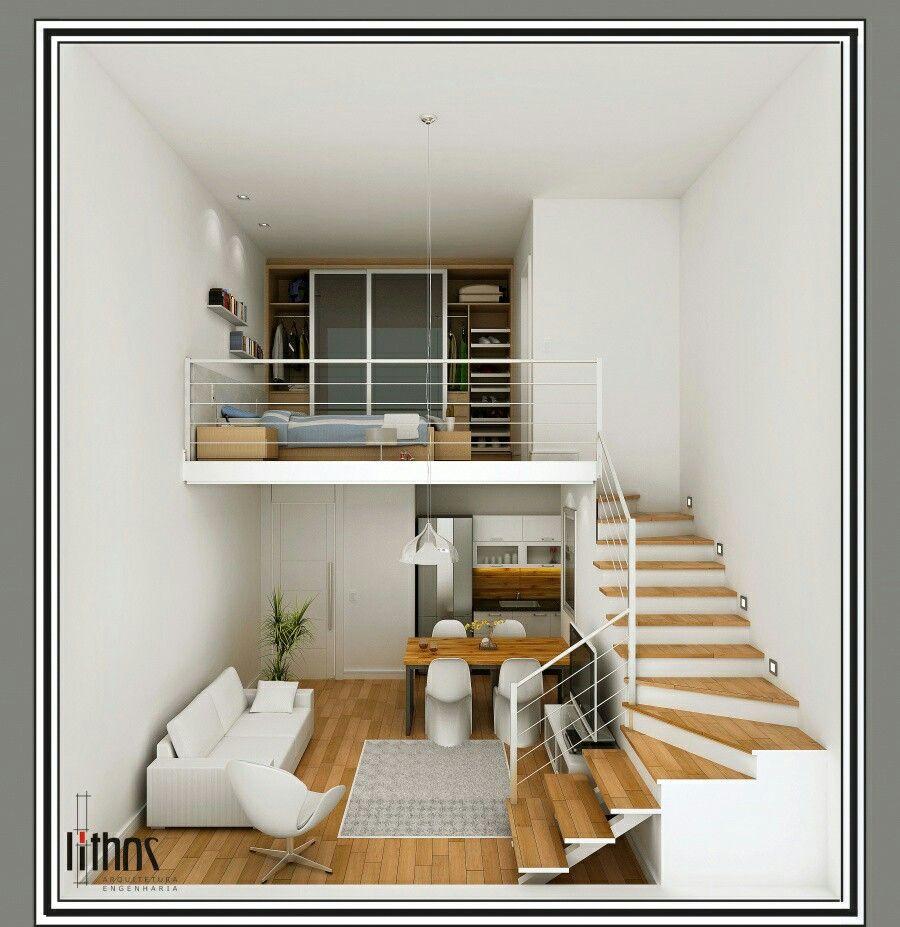 Loft pequeno moderno loft em 2019 mini loft projetos for Mini casa minimalista