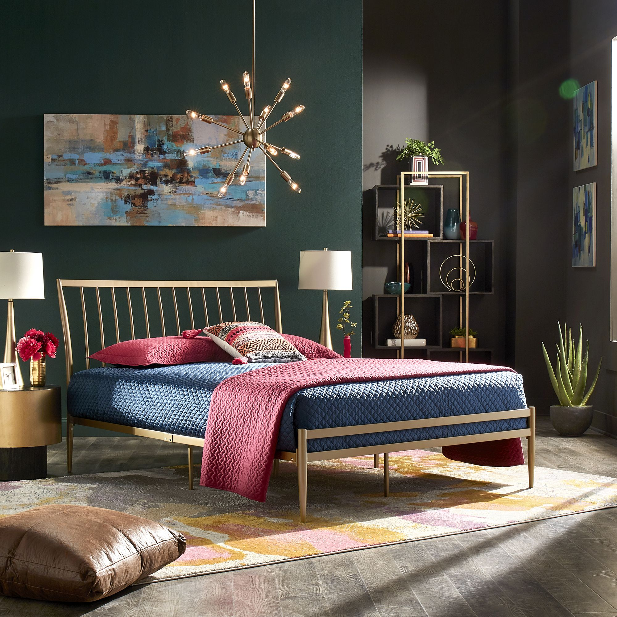 Weston Home Haverhill Gold Finish Metal Platform Queen Bed
