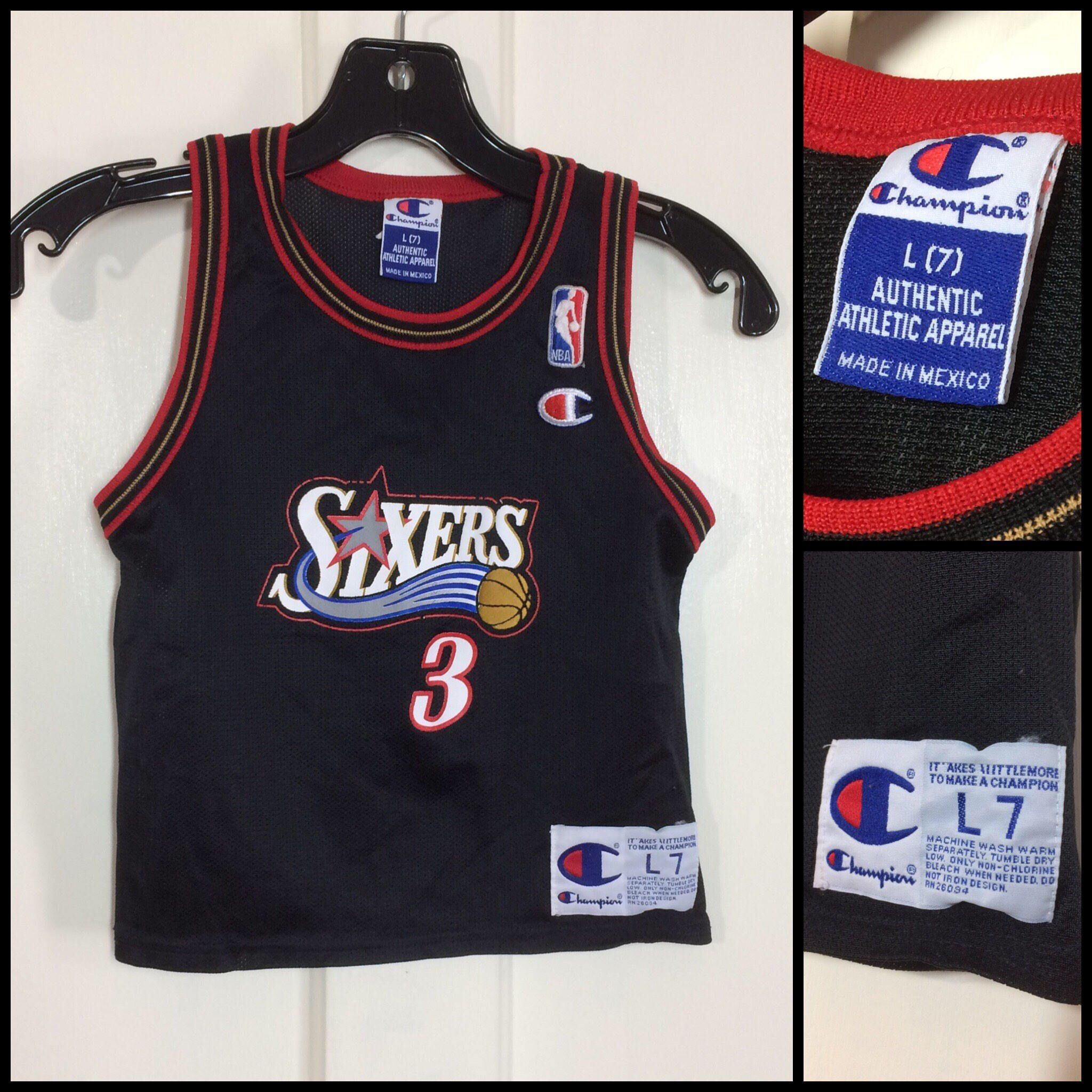 2136e7a04ccd ...  etsy shop  1990s kid s vintage Sixers  3 Allen Iverson Champion brand  NBA basketball jersey toddler size L7 Philadelphia 76ers black red gold tank  top