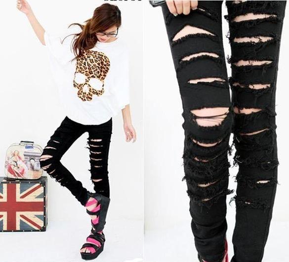 Celana Panjang Hitam Jeans Motif Sobek Trouser Af T 01 Stok Terbatas Celana Panjang Celana Jeans