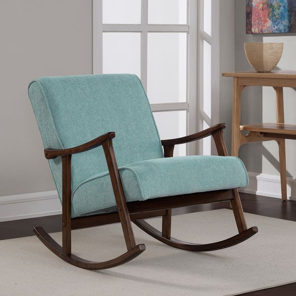 aqua blue fabric mid century wooden rocker chairi love living