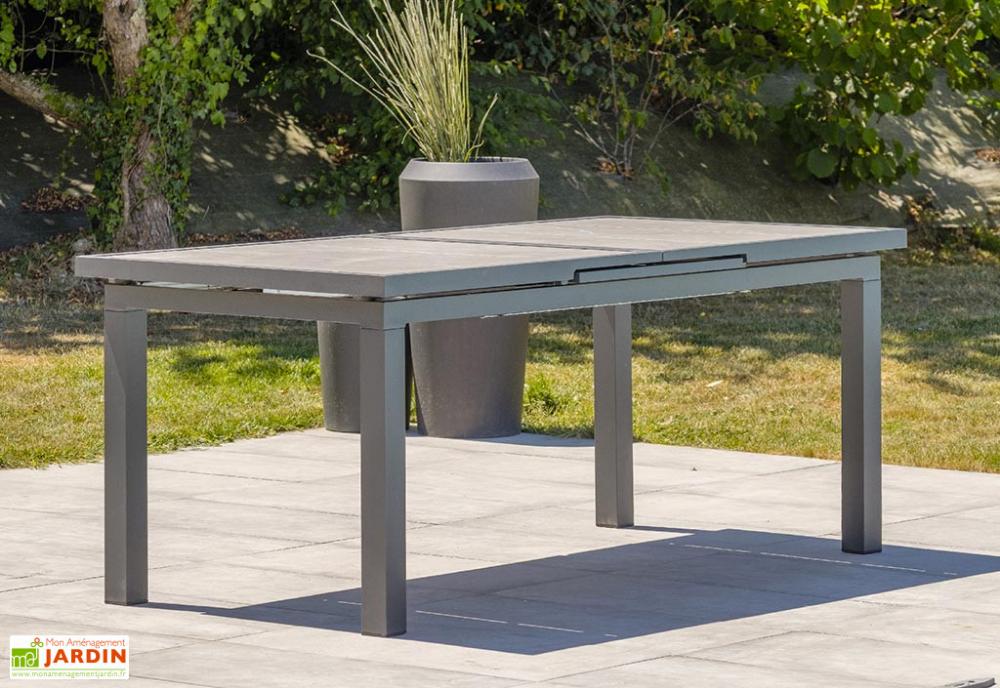 Table De Jardin Extensible Aluminium Et Ceramique Venise 190 250