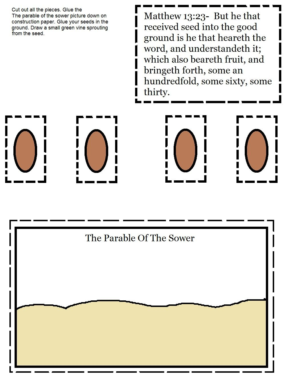 The Parable Of The Sower Activity Sheet Jpg 1019 1319 Sunday