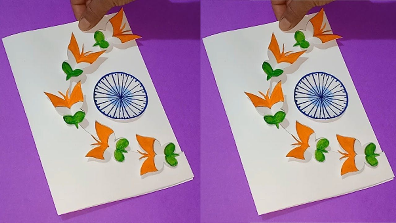 Republic Day Card Tricolor Butterfly Greeting Card Diy Art And Craft Cr In 2021 Greeting Card Craft Greeting Cards Diy Republic Day