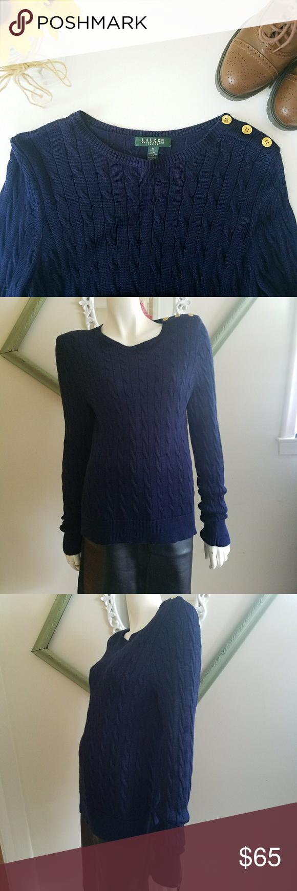 Lauren By Ralph Lauren Knit Sweater | Shoulder sleeve, Cable ...