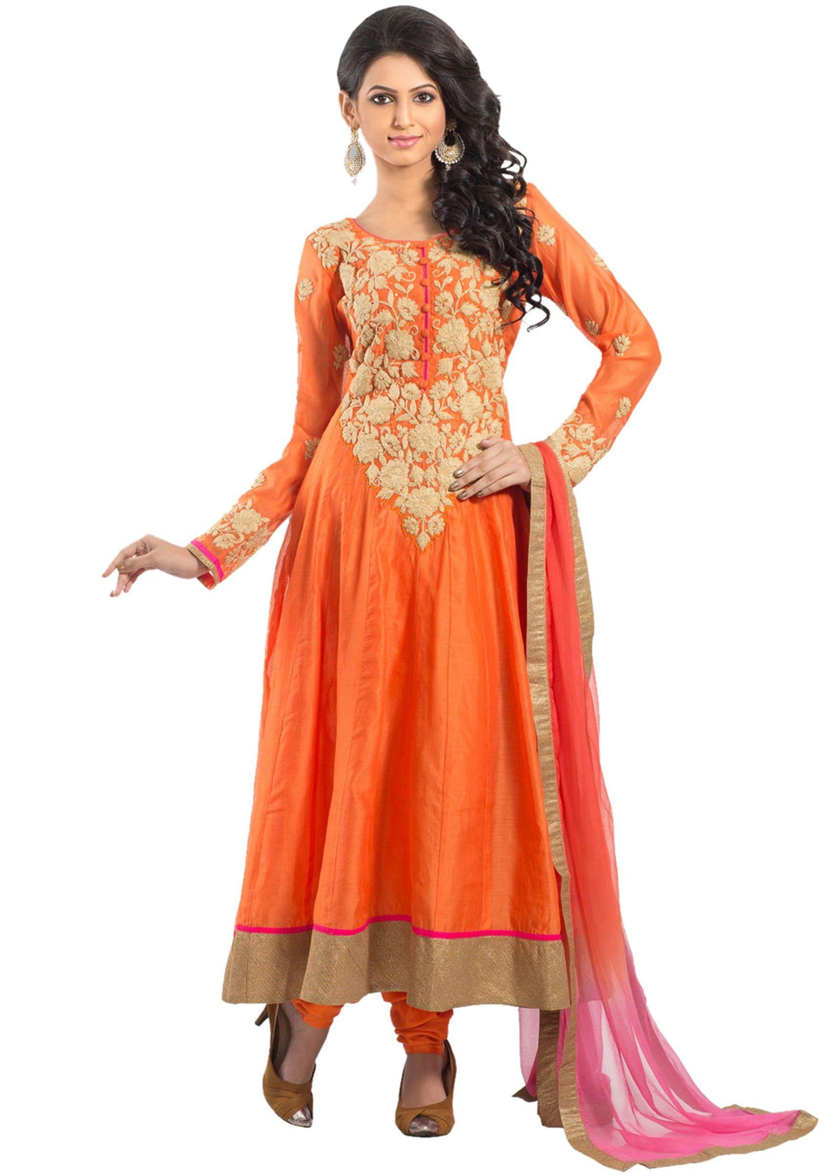Orange chanderi zari embroidery anarkali stitched salwar suit